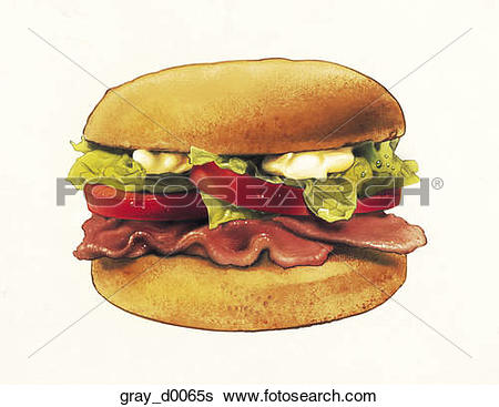 Stock Illustration of Bacon, Lettuce and Tomato Sandwich.