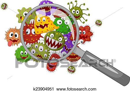 Cartoon bacteria under a magnifying Clipart.