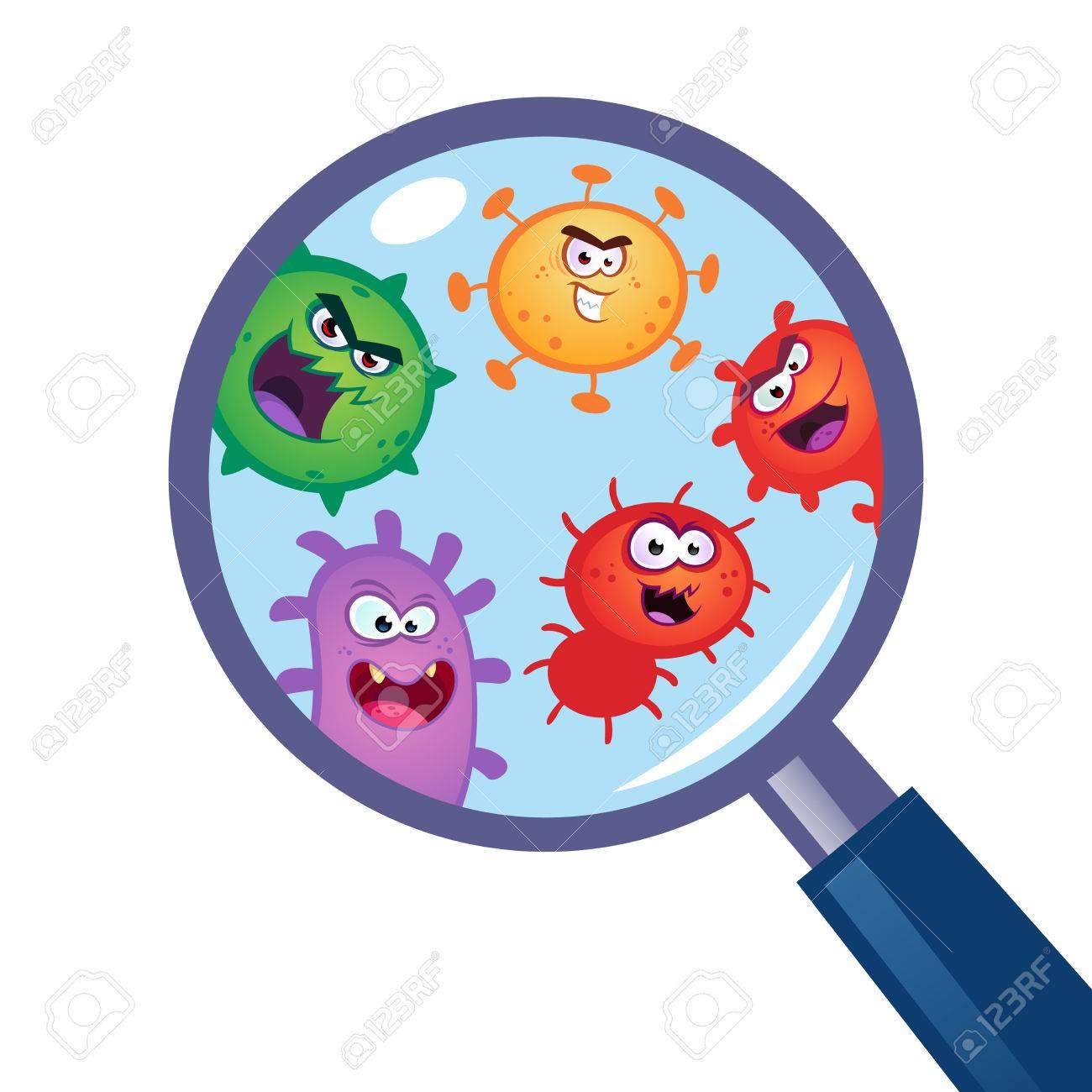 Magnifying Glass look through germ, bacteria, virus..