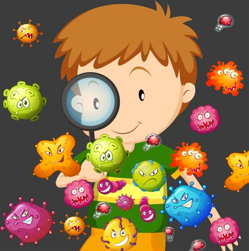 Boy looking at bacteria through magnifying glass.