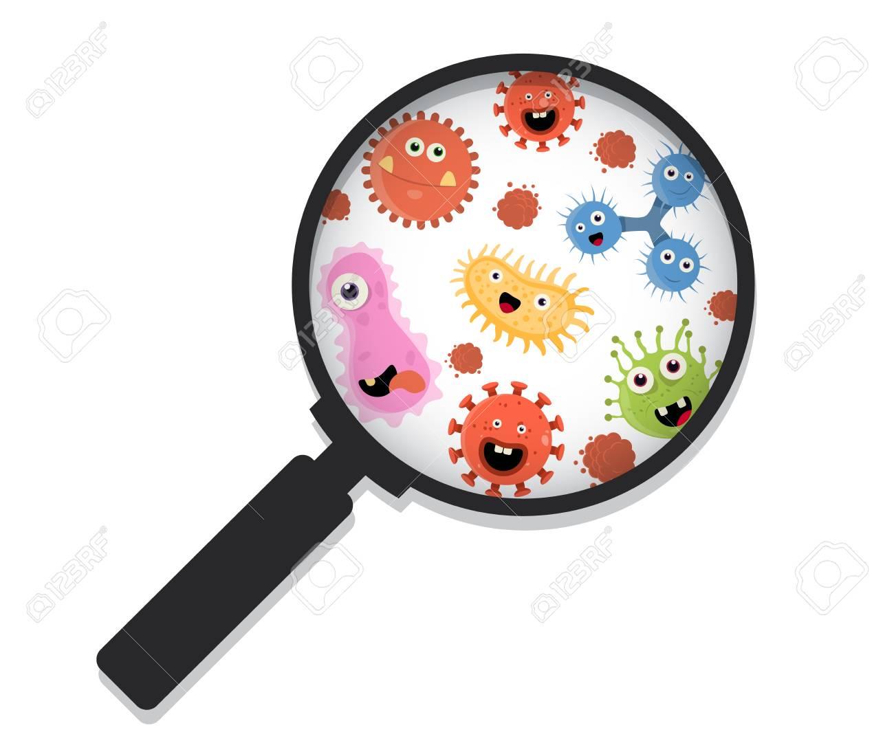 Cartoon bacteria under a magnifying glass vector illustration.