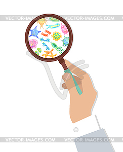 Bacteria in Magnifying Glass.
