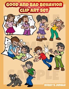 Good and bad behavior clip art set.
