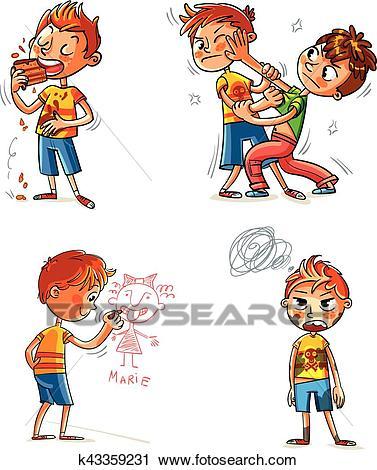 Bad behavior. Funny cartoon character Clipart.