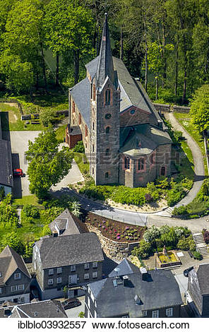 """Picture of """"Aerial view, Protestant church, Bad Berleburg, North."""