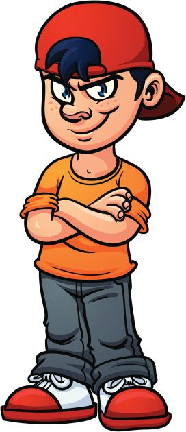 Cartoon kid with an evil smile. Vector illustration with.