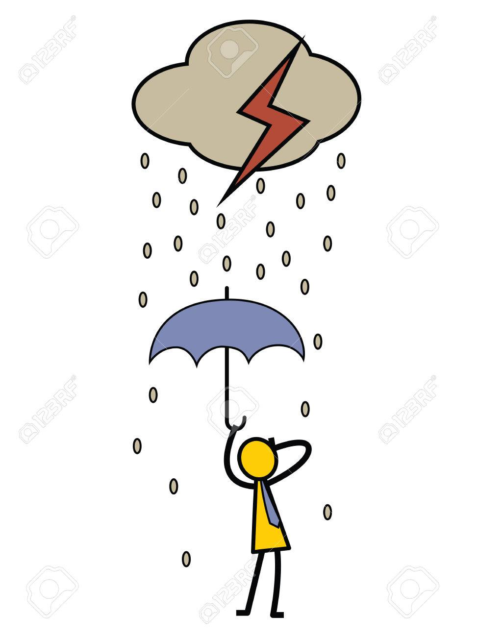 Bad day concept. Businessman holding umbrella in rainy day with...