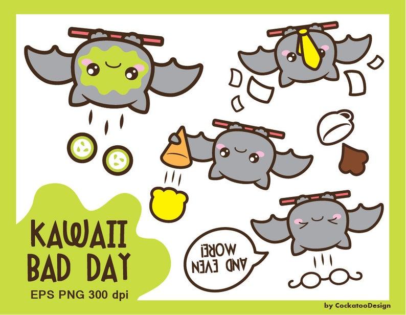 Bat clipart, kawaii clipart, bat clip art, bad day clipart, unlucky  clipart, sad clipart, kawaii clip art, Commercial Use.