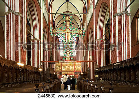 Stock Photography of People in church, Bad Doberan, Muenster.