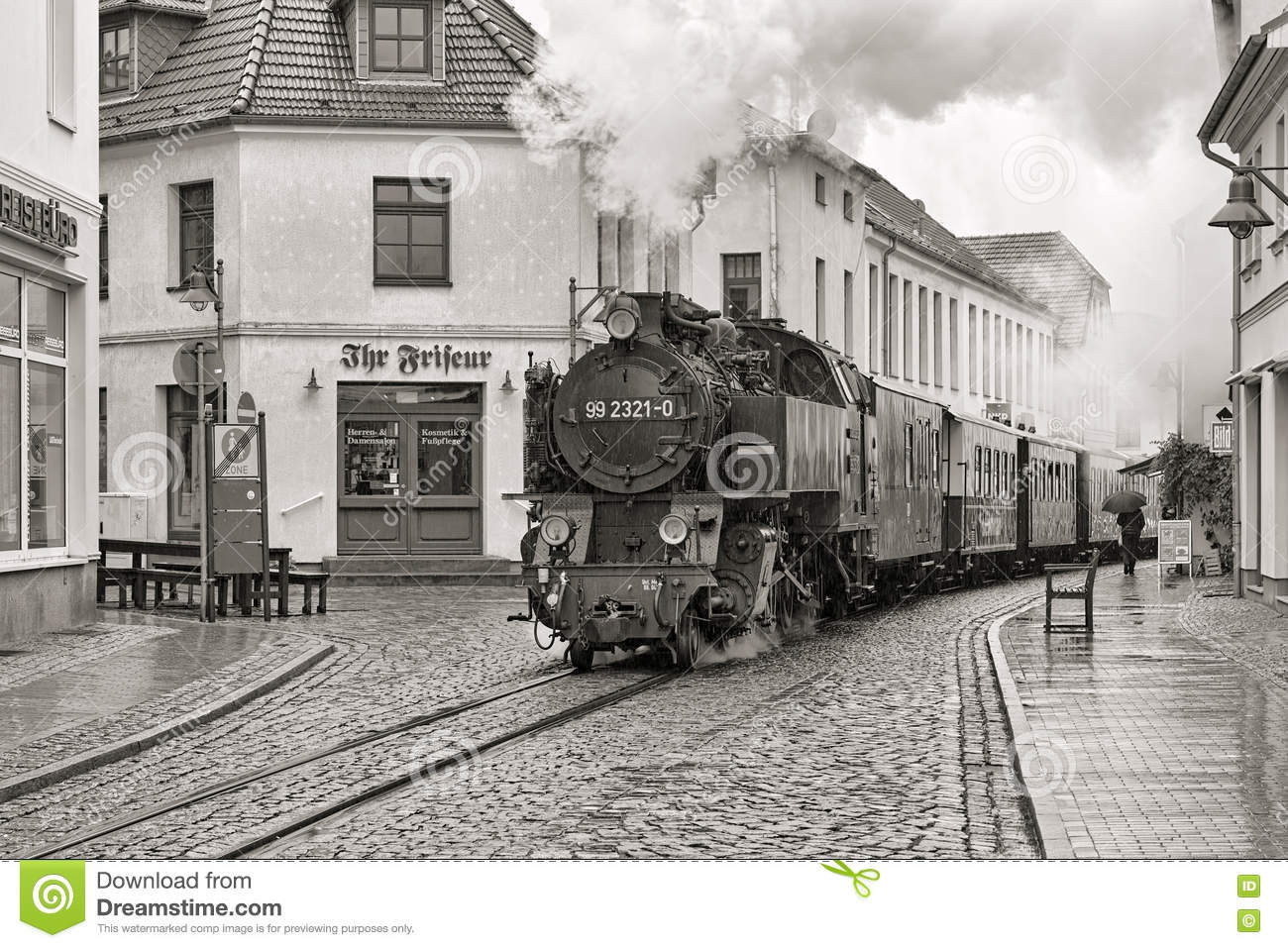 Steam Train On The Street Of Bad Doberan, Germany Editorial Photo.