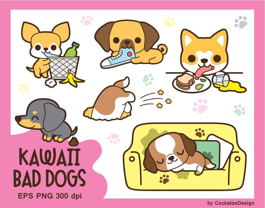 Kawaii dog clip art, cute dog clipart, kawaii puppy clipart, kawaii  dachshund clipart, kawaii chihuahua clip art, kawaii akita dog clipart.