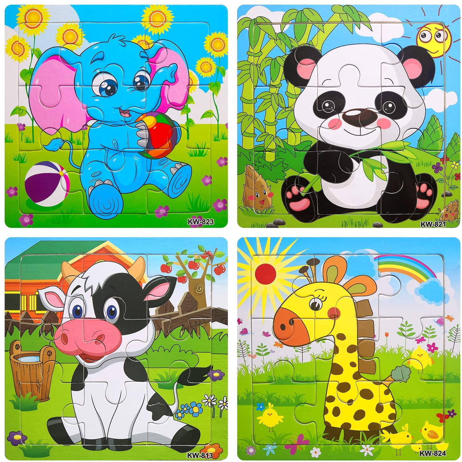 Wooden Jigsaw Puzzles Set for Kids Age 2.