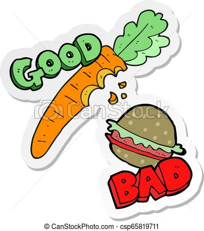 sticker of a cartoon good and bad food.
