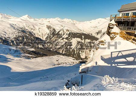 Stock Photograph of Ski resort Bad Gastein in winter snowy.