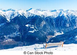 Stock Photo of Bench in ski resort Bad Gastein in winter snowy.