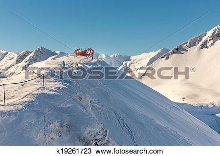 Stock Photo of Ski resort Bad Gastein in winter snowy mountains.