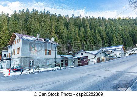 Pictures of Ski resort town Bad Gastein in winter snowy mountains.