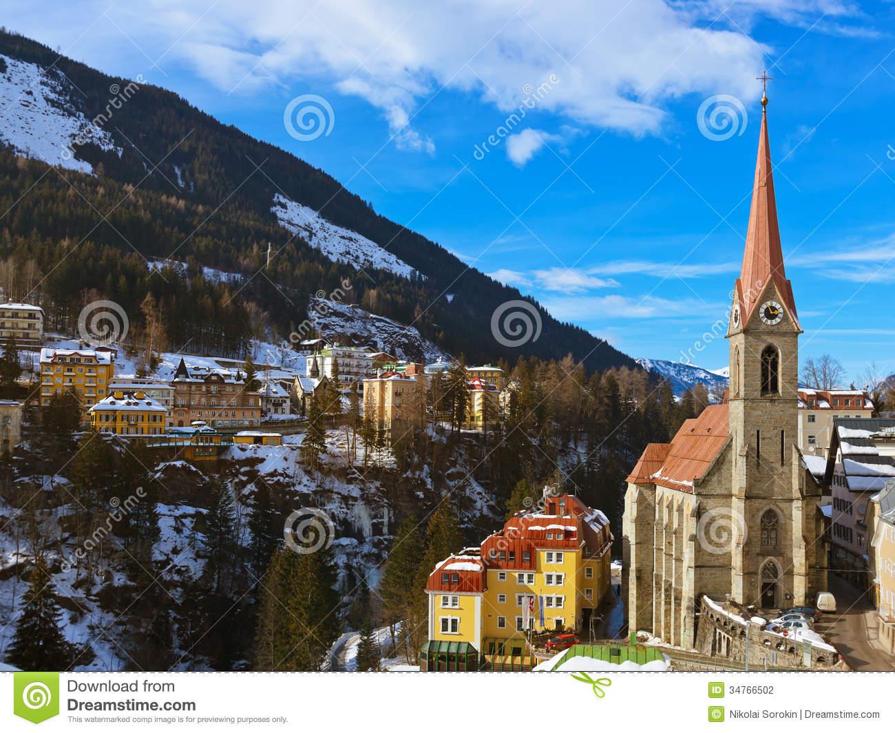 Mountains Ski Resort Bad Gastein Austria Stock Photography.