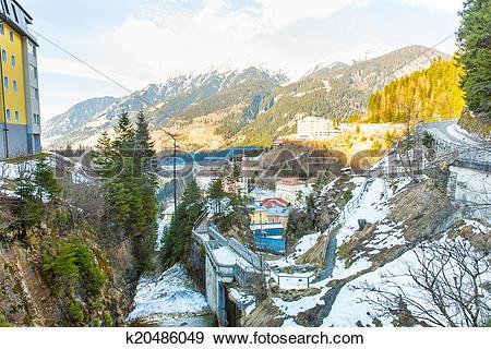 Stock Photograph of Ski resort town Bad Gastein in winter snowy.
