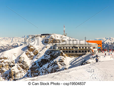 Stock Photos of Hotel in ski resort Bad Gastein in winter snowy.