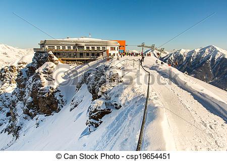 Stock Images of Hotel in ski resort Bad Gastein in winter snowy.