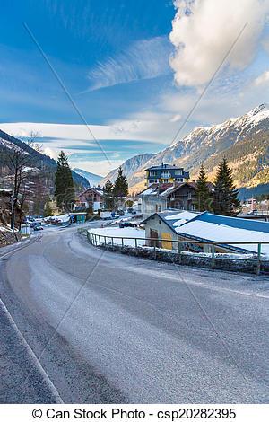 Stock Photographs of Ski resort town Bad Gastein in winter snowy.