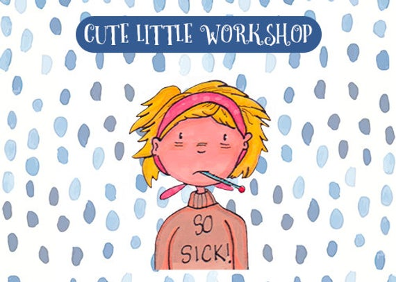 Sick Girl Clipart / ill girl / bad girl sticker clipart.
