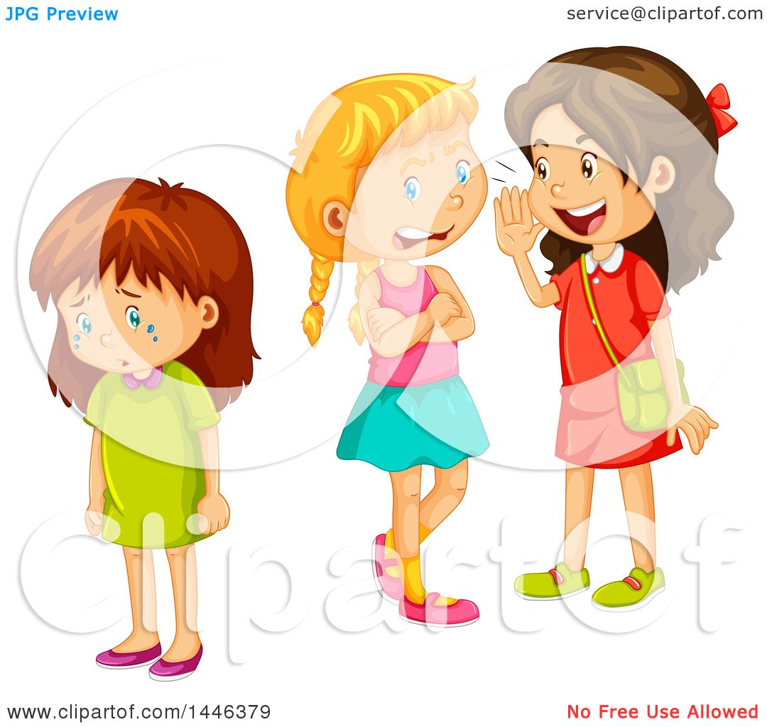Clipart of a Brunette Caucasian Girl Crying While Two Other Girls.