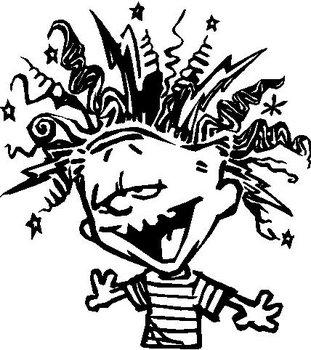 Calvin with a bad hair day, Vinyl cut decal.