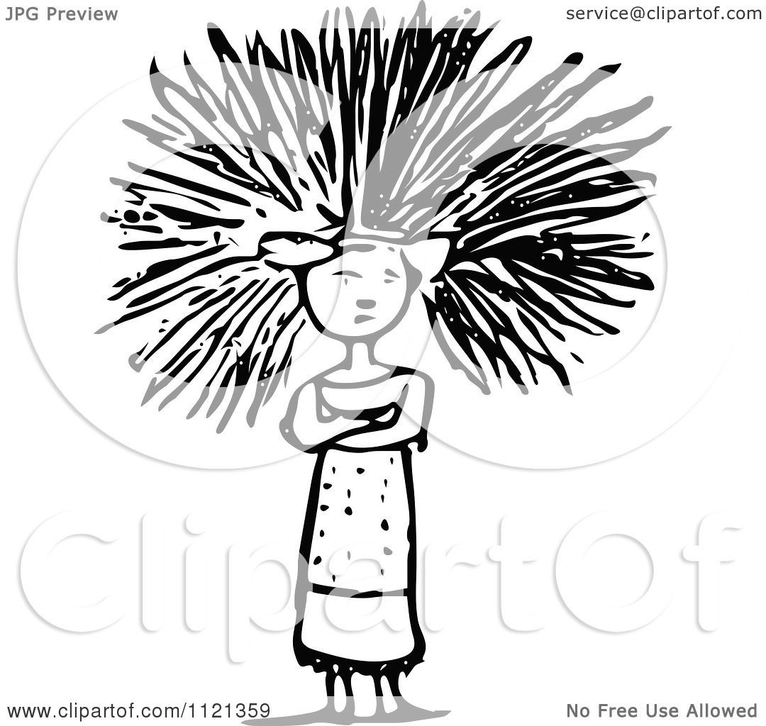 Clipart Of A Retro Vintage Black And White Woman Having A Bad Hair.