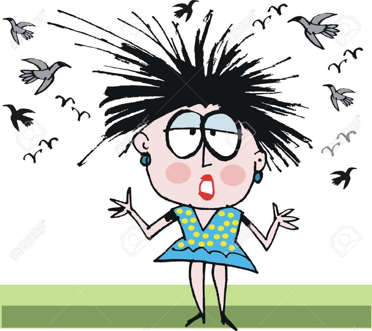 Vector cartoon of woman having bad hair day.