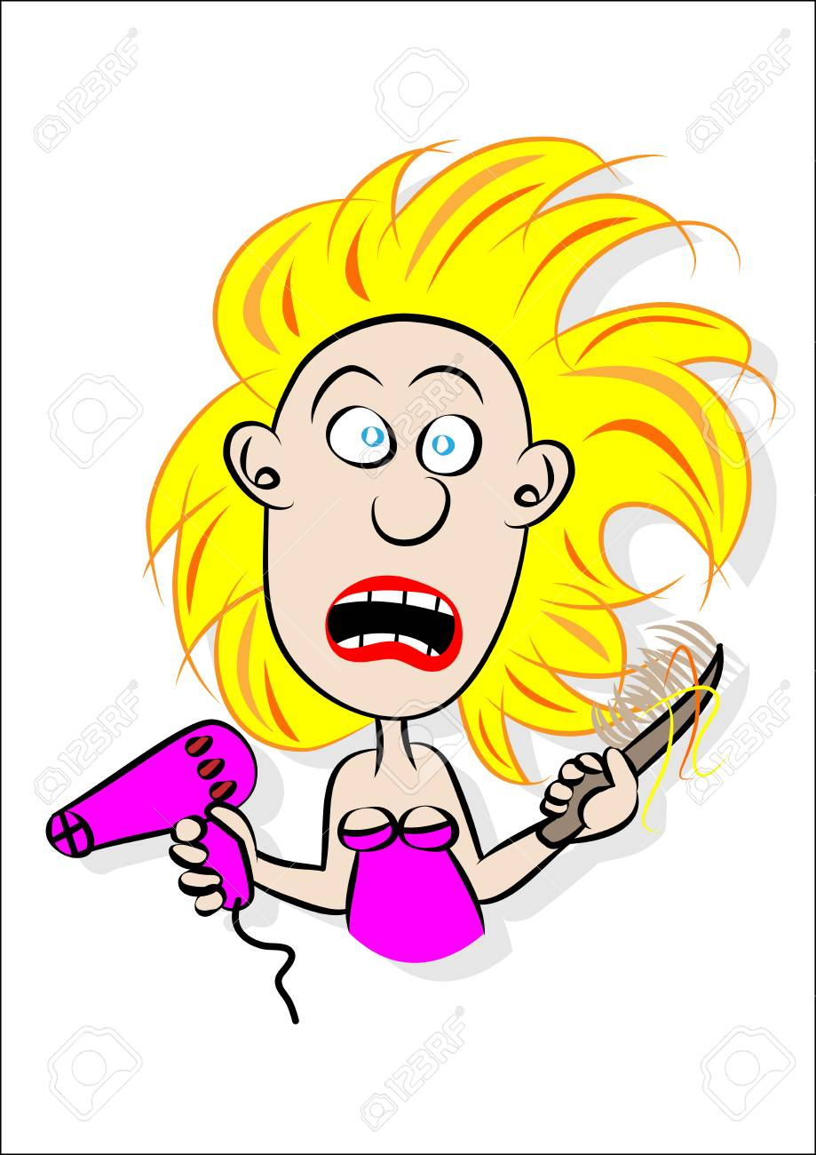 young girl having a bad hair day vector illustration.