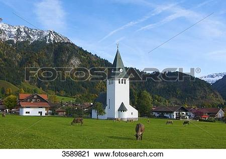 Stock Photography of Church, Bad Oberdorf, Bad Hindelang, Allgaeu.