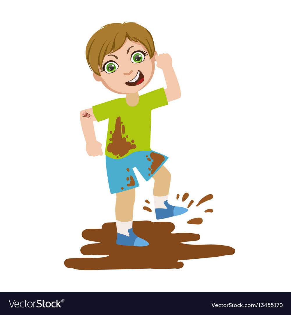 Boy jumping in dirt part of bad kids behavior and.