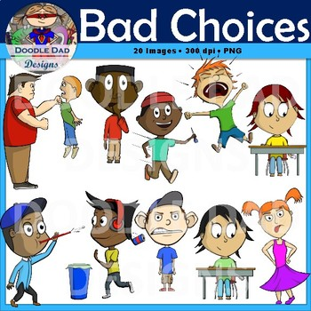 Bad Choices Clip Art (Behavior, Negative, Rules, counseling).