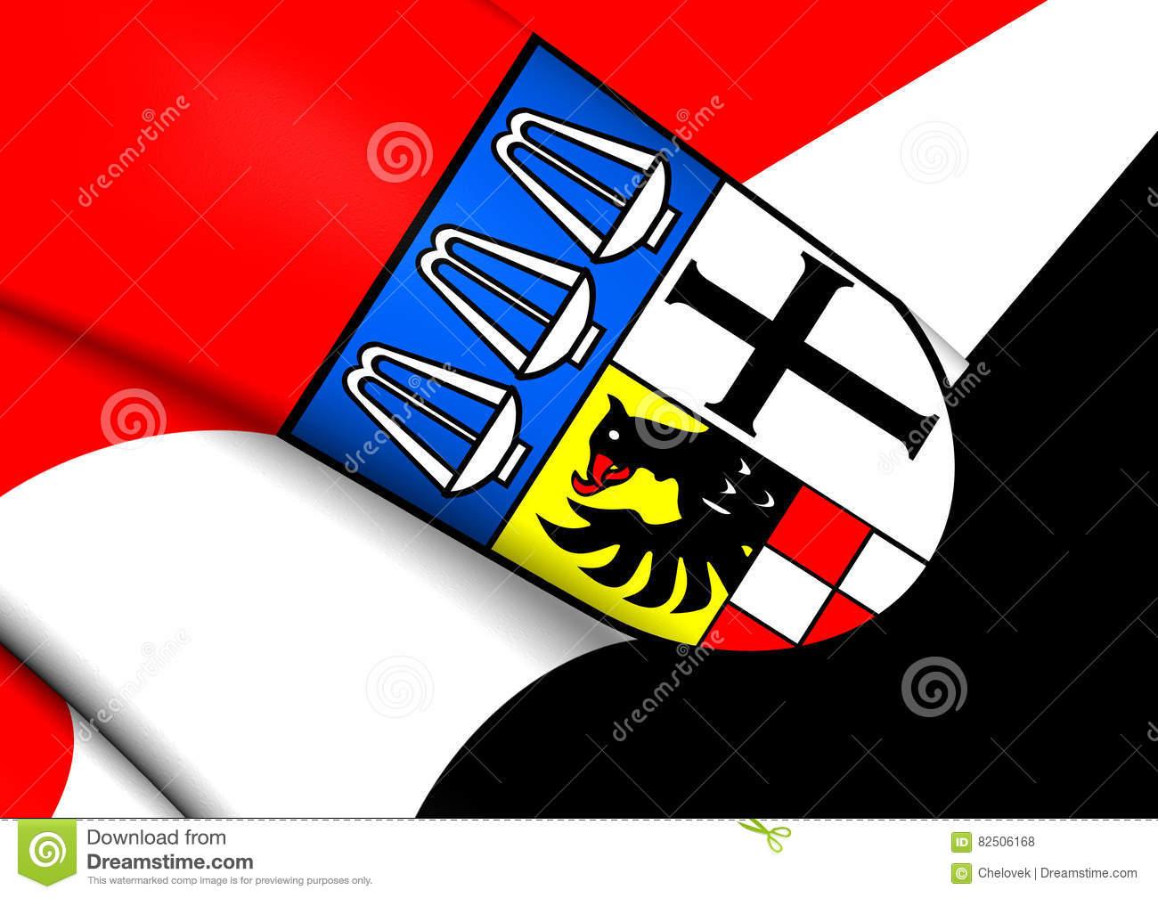 Flag Of Bad Kissingen, Germany. Stock Illustration.