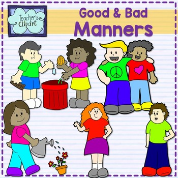Good and bad manners {multicultural kids} clip art.
