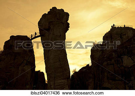"""Stock Images of """"People at Externsteine, sandstone rock formations."""