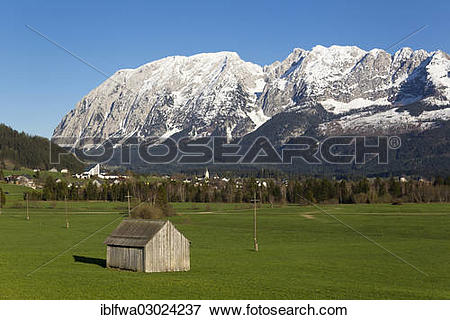 """Picture of """"Hinterberger Tal valley with Mount Grimming."""