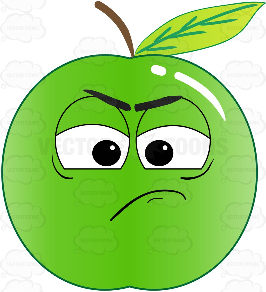 Green Apple Sulking And In A Bad Mood Emoji Cartoon Clipart in bad.