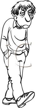 Royalty Free Clip Art Image: Man in a bad mood.