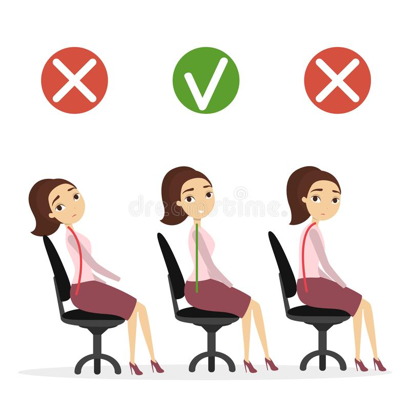 Bad Posture Work Stock Illustrations.