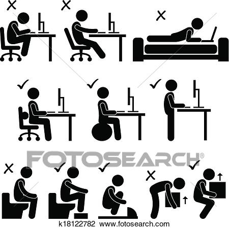 Good and Bad Human Body Posture Clipart.