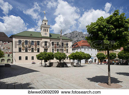 """Stock Photograph of """"Town Square, Old Town Hall, Bad Reichenhall."""