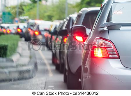 Stock Photography of Car queue in the bad traffic road. Selective.