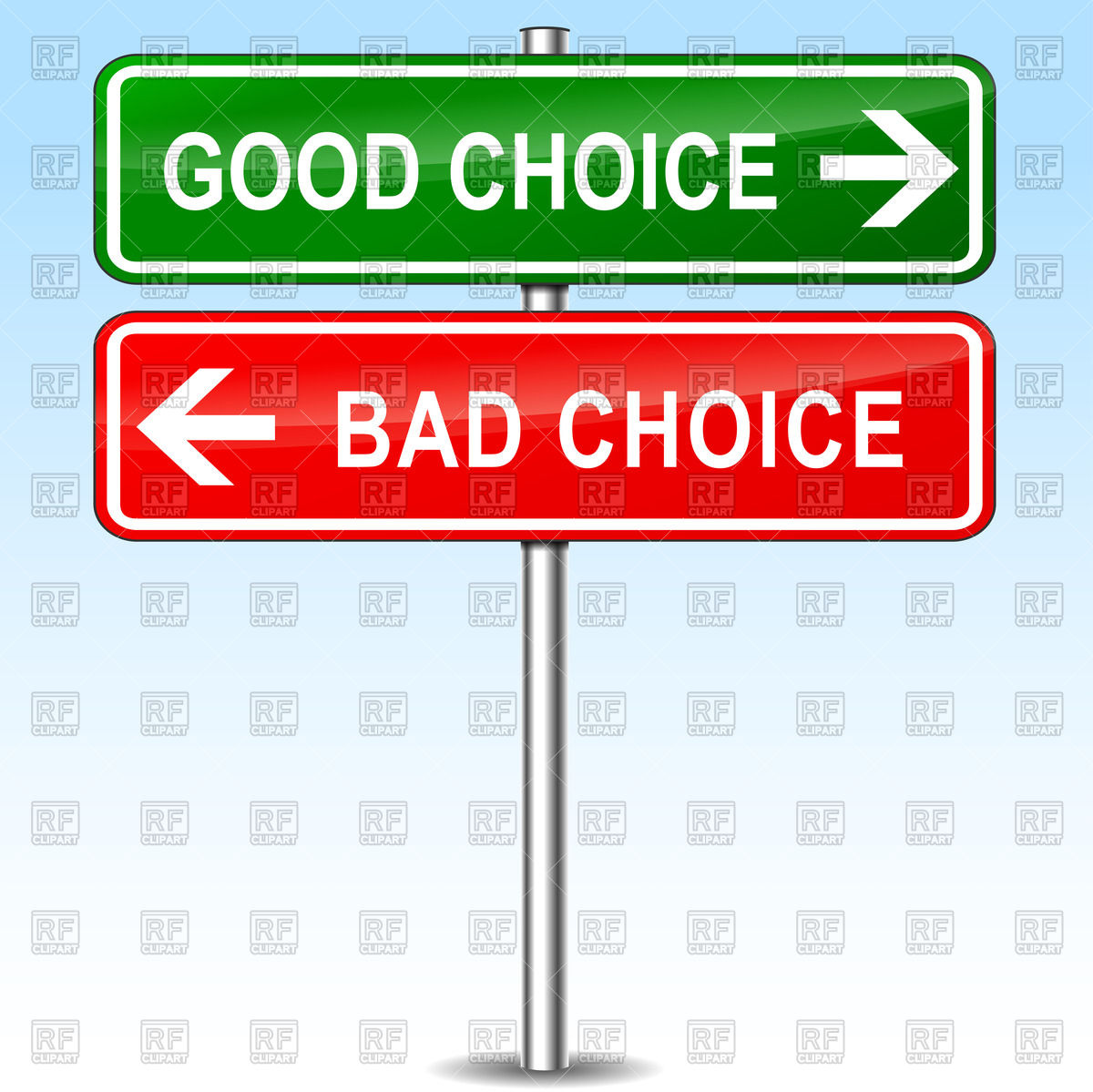 Good and bad choice directional road sign Vector Image #70616.