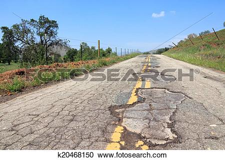 Stock Photography of Bad road in USA k20468150.