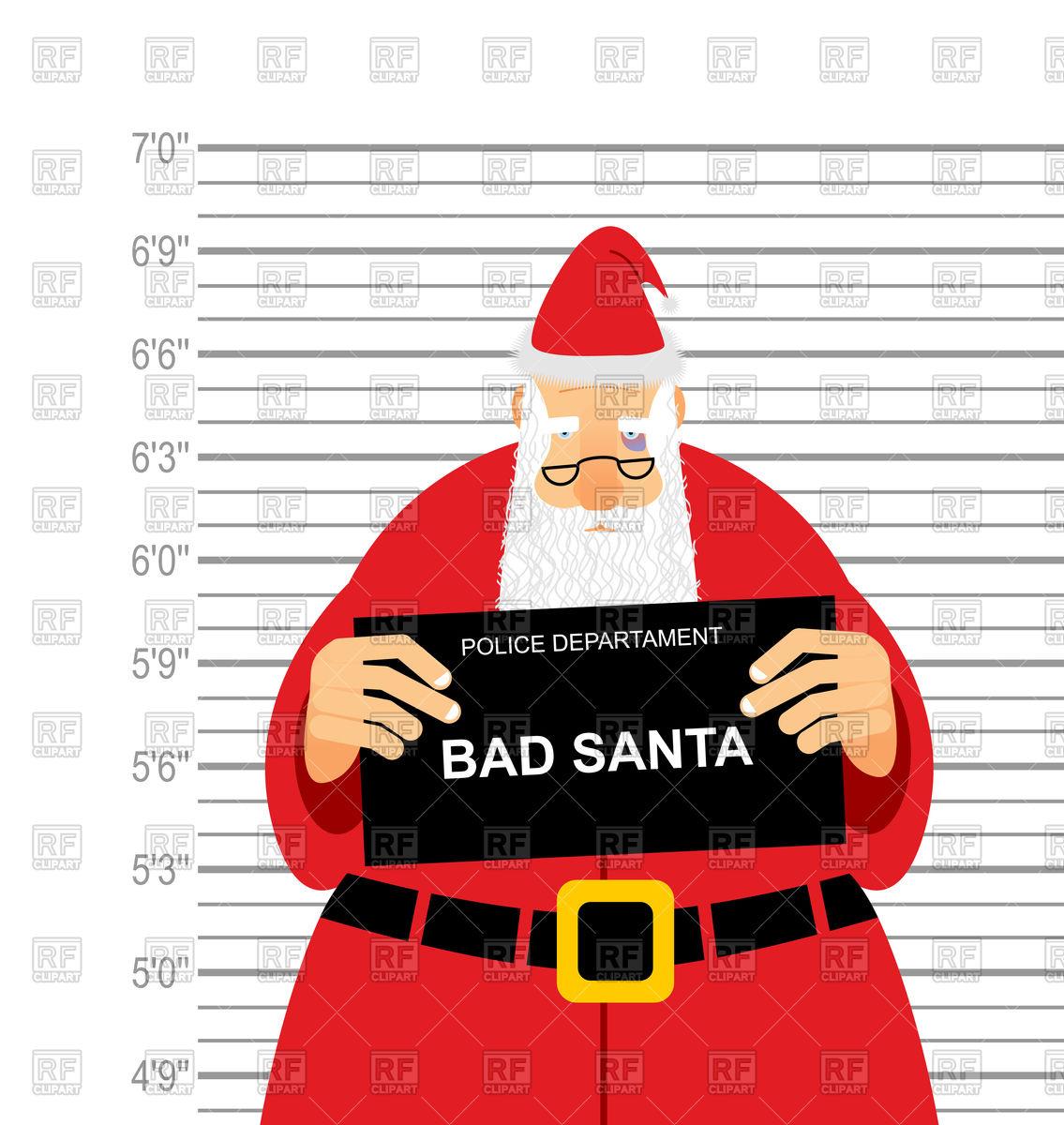 Bad santa clous mugshot Stock Vector Image.