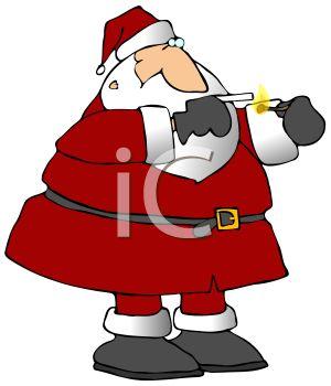 Royalty Free Clip Art Image: Bad Santa Claus Lighting a Cigarette.
