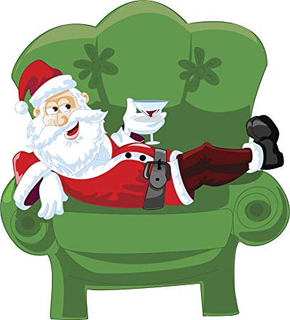 Amazon.com: Relaxed Bad Santa on Green Chair Cartoon Vinyl Sticker.